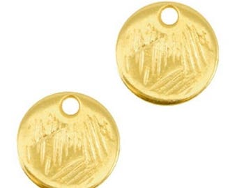 DQ Metal pendant round-Ø 9 mm-3 pcs.-Zamak-gilded or silver-colour choice Possible (color: Gold)