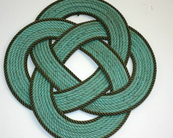 """16 """" Round Rope Large Table Center Piece Trivet Green & Gray Line RECYCLED ITEM"""