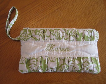Handmade Pleated Wristlet fully lined with zipper closure includes FREE Monogram or Name