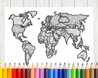 Usa map coloring page usa map wall art adult coloring world map coloring page printable world map coloring world map map for coloring gumiabroncs Choice Image