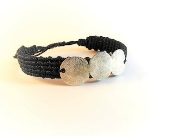 Sterling Silver Bracelet/Handmade Silver Bracelet/Makrame Silver Bracelet