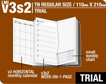 Trial [TN regular v3s2 w/o DAILY] July to September 2018 - Midori Travelers Notebook Refills Printable Planner.