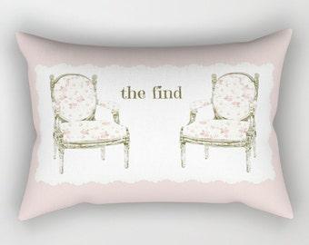 Rectangular Throw Pillow, Shabby Chic French Chairs