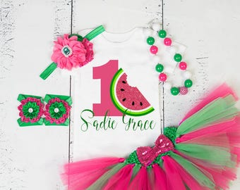 WATERMELON BIRTHDAY OUTFIT,1st Birthday Watermelon Tutu,Personalized Tutu Outfit,Girls First Birthday,Watermelon Birthday Set