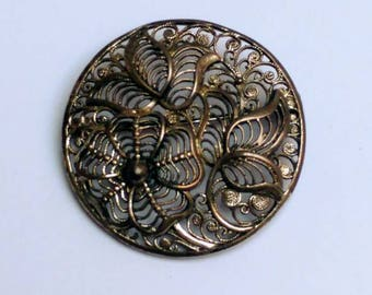 Vintage silver filigree floral brooch sterling