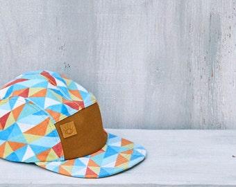 Light Blue Geometric Triangles Handmade 5 Panel Camp Hat - Baseball Cap