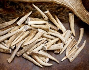 """Deer & Elk Antlers: Naturally Shed Deer and Elk Antlers Pendant, Boho Beads, SMALL, 1 pc 2"""" - 3.5"""" long, Bone Bead, Tribal, Jewelry, Crafts"""