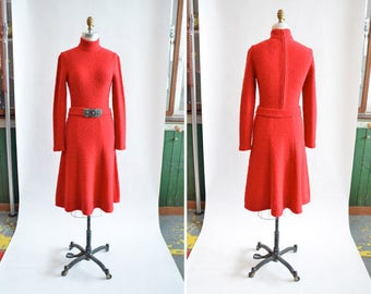 Vintage 1970s MARNI knit red sweater dress
