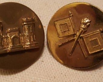 2 Pcs. Military Insignias / Signal Corps / Engineers / Collar Pinbacks L@@K!