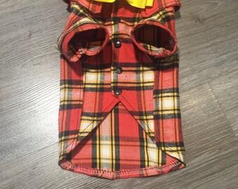 Plaid red and yeloow dog shirt with bow tie Elegant dog shirt for dog Dog tuxedo Formal dog wear