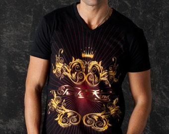 Red Lions Men Tshirt V Neck Rock n Roll Glam Rock Clothing Urban Wear 3v3oB
