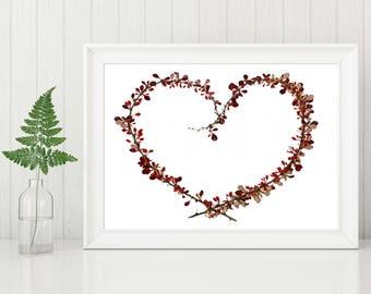 Valentines Wall Art, Heart Wreath, Red Botanical Print, 8X10 or 11X14