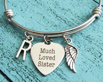 memorial jewelry sister, memorial bracelet, sympathy gift, loss of sister bracelet, in memory of sister, remembrance jewelry sister memorial