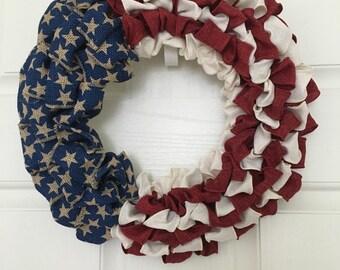 Burlap Flag Wreath, Red, White, Blue, Wreath, Memorial Day Wreath, Fourth of July Wreath, American Flag Wreath