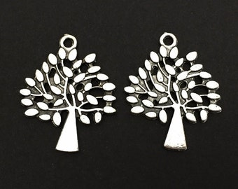 Tree Charm. Lot of 10 / 20 / 30 / 40 / 50 Pcs Tree of Life Pendants. Silver Plated Family Tree. Key Chain Accessories. Jewelry Supplies.