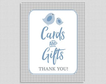 Cards and Gifts Sign, Little Birdie Gift Table Sign, Blue & Grey Gingham Baby Shower, INSTANT PRINTABLE