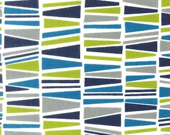 Blue & Lime Bunting Cozy Cotton FLANNEL From Robert Kaufman