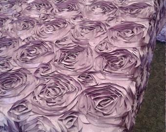 Fabulous Lavender Satin 3D Rosette Fabric By Yard