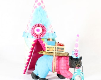 """Made to Order """"Camping Bear & Tent""""-  Cake topper,  painted birthday, and room decor"""