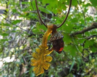 Hand-Made Yellow Glass Oak Leaf Necklace with Glass Acorn on Leather Cord