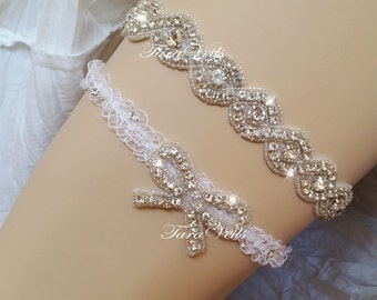 Wedding / Bridal / Swarovski Rhinestone Garter/ Rhinestone Garter/ wedding garters / bridal garter/ lace garter / Vintage Garter