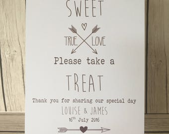 Love is sweet please take a treat. Rustic/Vintage wedding weetie sign, sweet buffet, candy cart. Personalised.