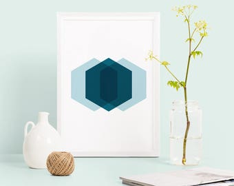 Hexagon print, abstract geometric poster, teal geometric print, modern abstract poster, hexagon poster, abstract home decor, housewarming
