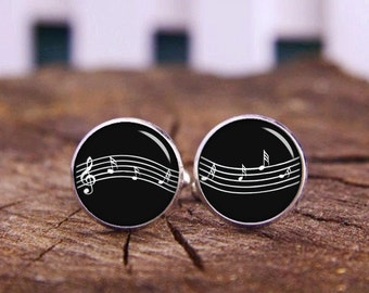 Music Notes Cuff Links, Custom Music Notes or Instrument Cuff LInks, Wedding Cuff Links, Groom Cufflinks, Personalized Cuff Links, Tie Clips