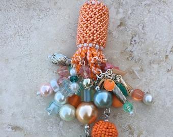 Light Fan Ball Chain Pull - Beaded Tassel - Peaches and Seafoam
