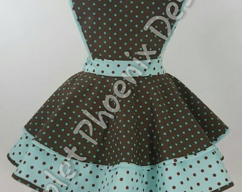 Polka-dot Brown/Teal Retro Pinup Apron