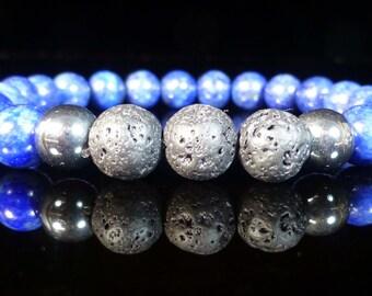 Natural Lapis Lava stone Bracelet Essential oils diffuser Hematite