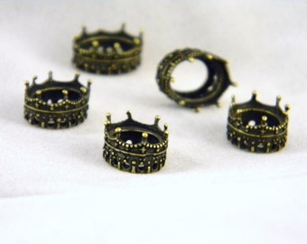 5 Antiqued Brass 13mm x 9mm Oval Crown Fillagree Settings