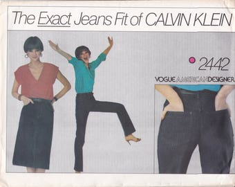 FREE US SHIP Vogue 2442 Vintage Retro 1970s 70s Designer Calvin Klein Jeans Skirt Exact Fit Sewing Pattern new Size 10, Waist 27.5 Last size