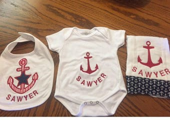 Anchor baby onesie bib and burp cloth
