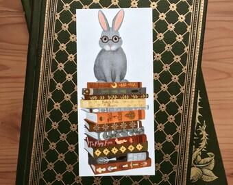 rabbit on books bookmark