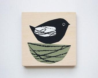 bird (green) - printed mini plywood