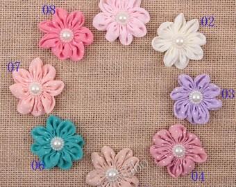 8 pcs Dots Chiffon Flowers, DIY Supplies Headbands Hair Clips Accessories