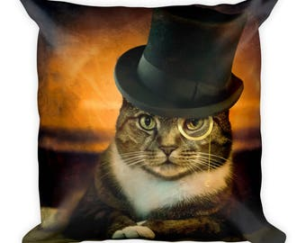 Cat pillow, Cat in Hat, Top Hat, Monocle, Sophisticate cat, Tabby Cat, Square Pillow, Throw pillow, Cool Cat, Cat Lover, Kitty  Pillow