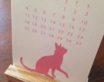 2018 Desk Calendar, Silhouette Cats, Cat Calendar, 2018 Cat Calendar, Kitty Calendar