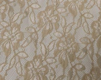 Tan Evening Pattern Lace Fabric Style 291