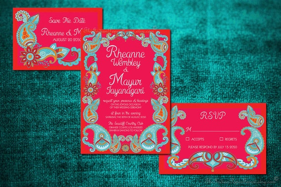 Mehndi Party Invites : Paisley henna indian wedding invitation set boho suite design