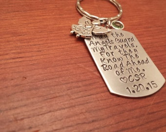 Personalized-dog tag-keychain-guardian angel-Angel watching me-Angel guarding me-Guardian angel keychain-New driver-teen driver-hand stamped