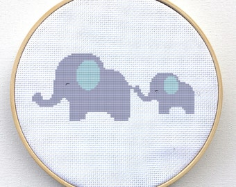 Cross Stitch Kit - Cute Elephants - Counted Cross Stitch Pattern Kit
