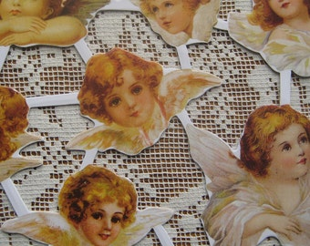 Made In Denmark Paper Lithographed Die Cut Scraps Beautiful Angels  SD 08