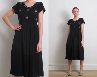 80s Black Embroidered Jersey Dress / S