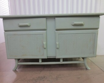 Pagoda Bamboo Sideboard Cane Buffet Hollywood Regency Dresser Rattan TV stand