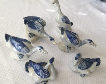 Vintage set of 6 blue and white ducks or geese