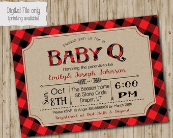 Plaid BABY Q Shower Invitation, BBQ Joint Baby Shower, Barbeque Baby Shower, Lumberjack, Chalkboarrd, Retro, Rustic - Digital Print File