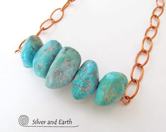 Chunky Turquoise Necklace, Copper Chain Necklace, Genuine Turquoise Jewelry, Earthy Natural Jewelry, Turquoise Stone Necklace, Gift for Her