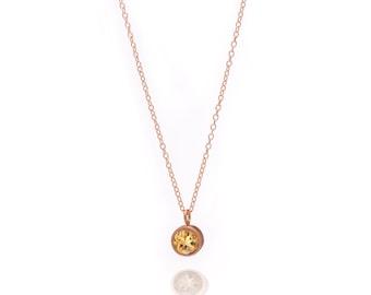 Gemstone POP Necklace - Rose Gold Necklace - Citrine Necklace - Small Gemstone Pendant Necklace - 18k Rose Gold Vermeil